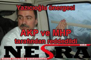 Muhsin Yazıcıoğlu önergesi AKP ve MHP tarafından reddedildi.